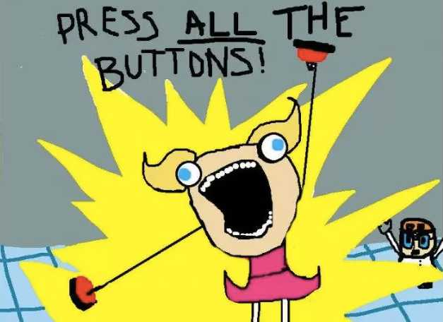 marketing automation - press all buttons comic
