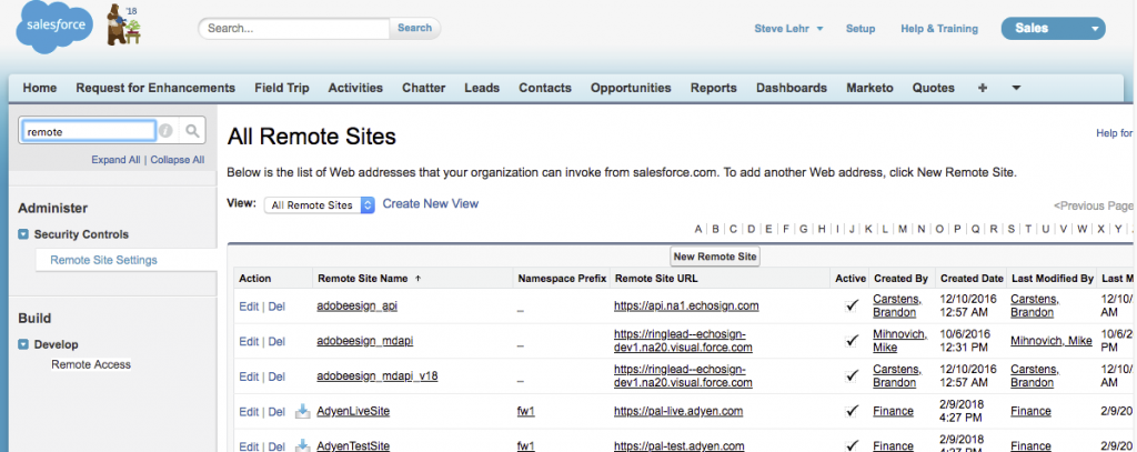 Salesforce All Remote Sites