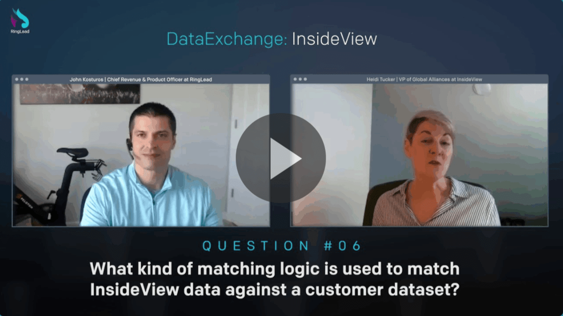 What kind of matching logic is used to match InsideView data against a customer database?
